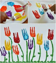 Flower art project-Use a fork for the flower part. - Artsy Gardens
