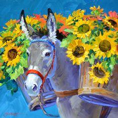 (usa) Cargo of gold by Mikki Senkarik ). Acrilic Paintings, Watercolor Paintings, Donkey Drawing, Mexican Art, Horse Art, Animal Paintings, Beautiful Paintings, Cute Art, Flower Art