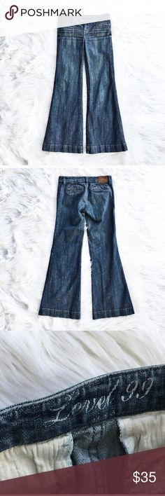 """Anthropologie Level 99 bell bottom flare jeans Medium wash bell bottom flare leg jeans, size 25 or 0 from Level 99 (Anthropologie). Welt pockets in front and back, excellent condition. Flat measurements are waist 15.5"""", hips 16.5"""", front rise 8"""", inseam 30.5"""", length 38"""", leg opening 12"""". Anthropologie Jeans Flare & Wide Leg"""