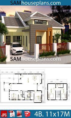 House Plans with 4 Bedrooms - Sam House Plans Modern Bungalow House, Bungalow House Plans, Dream House Plans, Modern House Plans, House Floor Plans, Loft House Design, Architect Design House, House Front Design, Dream Home Design