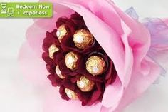 Groupon wedding flowers up to off bouquet from for stalks . Chocolate Flowers, Chocolate Bouquet, Fondant Flowers, Paper Flowers, Fererro Rocher, Wedding Budget Breakdown, Chocolates, Candy Bouquet, Wedding Table Centerpieces
