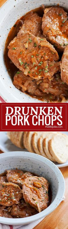 Drunken Pork Chops is one of the easiest dinner recipes for busy families. This is low-maintenance cooking at it's finest that makes the most delicious, savory sauce with simple ingredients like red wine and onions- even your kids will love it (don't worr Pork Chop Recipes, Meat Recipes, Wine Recipes, Cooking Recipes, Recipes Dinner, Cooking Tips, Spinach Recipes, Recipies, Dinner Ideas