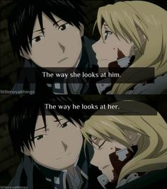 Roy Mustang and Riza Hawkeye. Edwin who knows you? Edward Elric, Fullmetal Alchemist Brotherhood, Superwholock, Me Me Me Anime, Anime Love, Manga Anime, Transmutation, Elric Brothers, Fulmetal Alchemist