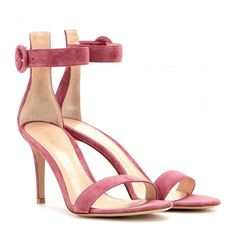 Gianvito Rossi mytheresa.com Exclusive Portofino Suede Sandals ($580) ❤ liked on Polyvore featuring shoes, sandals, pink, pink suede shoes, blue suede shoes, suede leather shoes, famous footwear and suede shoes