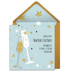A gorgeous, glittery and gold New Year's invitation. Fun and free digital invitation to send to family and friends for your New Year's Eve party. Online Invitations, Digital Invitations, Party Invitations, Invite, Halloween Desserts, Halloween Cakes, Holiday Desserts, Champagne Online, Cheese Dessert