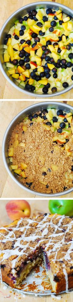 Apple, Blueberry, Peach Coffee Cake ~ The perfect coffee cake for the summer: with blueberries, apples, and peaches! With extra crumb topping! Fruit Recipes, Sweet Recipes, Dessert Recipes, Cooking Recipes, Summer Recipes, Delicious Desserts, Yummy Food, Tasty, Peach Coffee Cakes