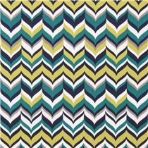 zig zag Michael Miller fabric teal Feathering Rustique