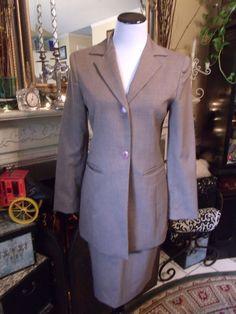 Stephanie Andrews Women's Tan Wool Blend Skirt Suit SZ 4 Blazer Skirt Lined #StephanieAndrews #SkirtSuit