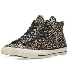 Founded over a century ago, the Converse brand continues to produce staple footwear styles to this day. Here, a throwback street classic receives a contemporary update this season. These Chuck Taylor 1970s 'Cheetah' sneakers boast luxe pony hair uppers and sit atop this brands iconic rubber outsole. To the side wall, a leather logo patch signs off the look in signature style. Patterned Pony Hair Uppers Lace Fastenings Leather Logo Patch to the Side Wall Logo Tab to the Heel Rubber Sole Unit