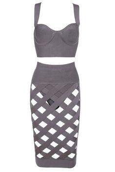 0cd8b3061b29 2 Pieces Top Skirt Grey Lattice Caged Bodycon Bandage Dress. Sexy Dresses Φορέματα ...