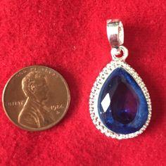4/$25 Blue stone 925 silver pendant Gorgeous blue stone ! Jewelry