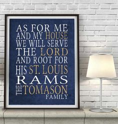 "St. Louis Rams football inspired Personalized Customized Art Print- ""As for Me"" Parody- Unframed Print"