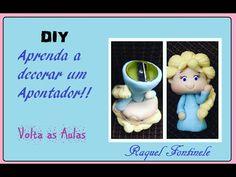 DIY- Apontador decorado em Biscuit - Kit escolar- Raquel Fontinele - YouTube