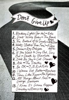 Playlist: Don't Give Up Illustration by Minna. Music Mood, Mood Songs, New Music, One Song Workouts, Workout Songs, Music Lyrics, Music Songs, Playlist Names Ideas, All About Music