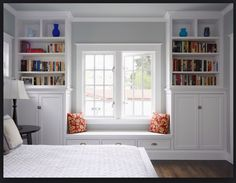 I love this idea for the boys rooms. But with a full wardrobe on one side and full book shelves on the other. With cushions on the window seat and toy chest under the seat.