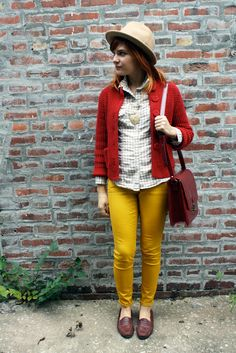 Colorful jeans, sweater, gingham top, loafers