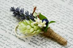 Lavender Boutonniere Purple Boutonniere Rustic by LumilinA on Etsy