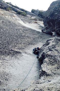 Jonathan navigating pitch #3 up Royal Arches. #tradclimbing #climbing #royalarches #beautiful