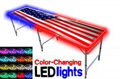 Beer Pong Table - Folds Into x Case - American Flag Design with LED Lights Beer Pong Tables, Dorm Essentials, Flag Design, W 6, Best Beer, American Flag, Color Change, Lights, Ebay