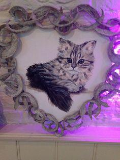 kitten materiaal acrylverf.