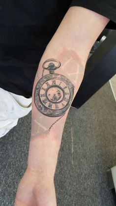 Realistic clock tattoo made by Popescu Alexander