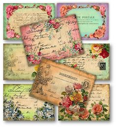 french postcards with roses scrapbooking tags