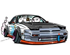 """crazy car art"" jdm japanese old school ""S13 PIG NOSE"" original characters ""mame mame rock"" / © ozizo Official web shop ""STAY CRAZY (in Society6)"" Official web shop ""ozizo(in Redbubble)"" ""Crazy Car Art"" Line stickers ""Crazy car Art"" Telegram stickers"