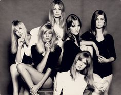 """Top London models of the mid-1960s. From left, Jenny Boyd, Jill Kennington, Sue Murray, Celia Hammond, Pattie Boyd, and Tania Mallet. These young """"It girls"""" of Pop-influenced London were often called """"birds""""—a new woman defined as a product of the cultural revolution."""