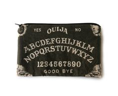 Ouija Board Makeup Bag / Pencil Pouch - Black with White Letters - Spooky - Vintage Halloween Wicca, Biker Leather, Vintage Halloween, Halloween 2017, Ouija, White Letters, Pencil Pouch, Coven, Purses And Bags