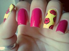 Pink & Yellow Roses nail art