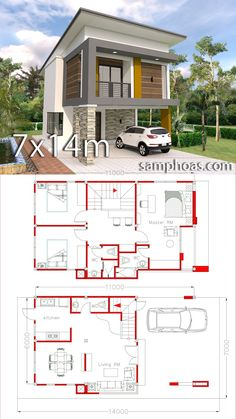 Small Home Design Plan with 3 Bedrooms - SamPhoas Plan Small Home Design Plan with 3 Bedrooms. This villa is modeling by SAM-ARCHITECT With 2 stories level. It's has 3 bedrooms.Simple Home Design Model House Plan, Dream House Plans, Small House Plans, House Floor Plans, Simple House Design, House Front Design, Modern House Design, Small Home Design, 2 Storey House Design