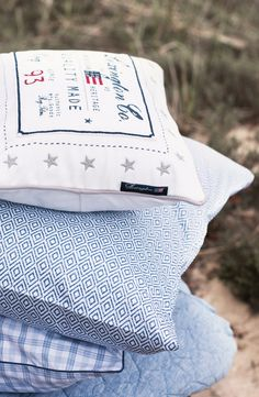 Bedding and shams from Lexington Company Home Spring 2015 Collection. Lexington Company, Lexington Home, Nautical Nursery, Nautical Home, Hamptons House, The Hamptons, Bedroom Setup, Master Bedroom, Nantucket Home