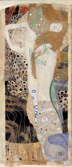 Художник - Густав Климт - «Подруги (Водяные змеи I)» (Модерн, Ню): Описание картины