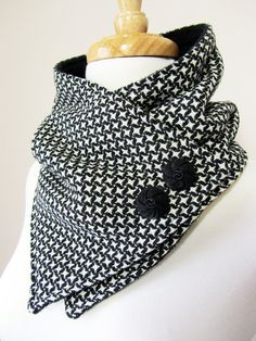 Upcycled Black and White Shapes Neck Warmer Scarf by OhMaudlinMe