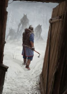 """The Polish artist Jakub Rozalski, who goes by the sobriquet """"Mr. Werewolf,"""" has produced an amusing series of steampunk-ish canvases in which serene and idyllic rustic landscapes of what seem to be Eastern Europe (Rozalski's very back yard, you might say) in the early decades of the 20th century fea #RusticLandscape"""