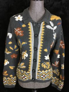 Norm Thompson Sz L Gray Brown Gold Fall Cardigan Sweater Falling Leaves #NormThompson #Cardigan