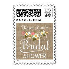 Rustic Burlap Floral Bridal Shower Postage Stamp