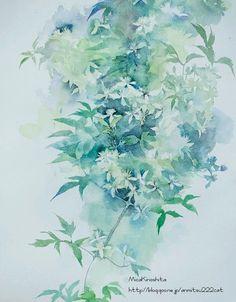 Japan Painting, Watercolour Painting, Watercolors, Watercolor Rose, Japan Art, Painting Techniques, Painting Inspiration, Flower Art, Illustration Art