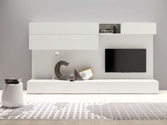 Sectional lacquered modular storage wall SPAZIO MOD. S431 by PIANCA