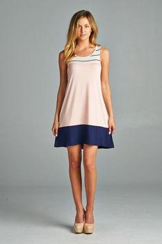 Pretty As A Picture Dress- Navy/Peach