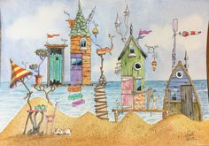 Watercolour beach huts