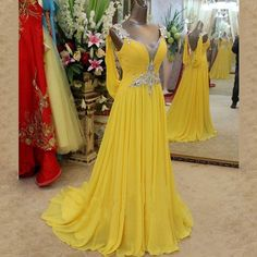 Sexy Long Prom Dresses,Yellow Women Formal Gown,Beading Prom Gown,V Neck Chiffon Evening Formal Dresses
