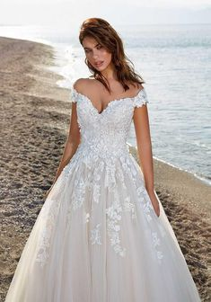 Elegant Country Wedding Dresses Cala is a beautiful off the shoulder ballgown with appliques to give it the most beautiful texture! Country Wedding Dresses, Wedding Dresses Plus Size, Princess Wedding Dresses, Modest Wedding Dresses, Boho Wedding Dress, Gown Wedding, Wedding Attire, Wedding Reception, Lace Wedding
