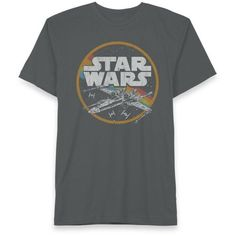 Hybrid™  Star Wars X-Wing Space Tee ($24) ❤ liked on Polyvore featuring men's fashion, men's clothing, men's shirts, men's t-shirts, charcoal, mens graphic t shirts and mens wing collar shirt
