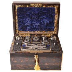 Antique Sterling Silver Lady's Vanity Travelling Case | From a unique collection of antique and modern boxes at http://www.1stdibs.com/furniture/more-furniture-collectibles/boxes/