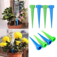 Buy 4 Pcs/Lot Indoor Automatic Garden Cone Watering Spike Plant Flower Waterers Bottle Drip Irrigation Tips Houseplant Water SpikesWater spikes work wonders on thirsty potted plants! These handy garden watering tools help deliver water where plants n Water Flowers, Water Plants, Water Garden, Lawn And Garden, Garden Plants, House Plants, Self Watering Containers, Self Watering Planter, Garden Sprinklers