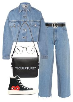 """""""Untitled #1930"""" by emmastrouse ❤ liked on Polyvore featuring Gucci, Topshop, Off-White and Play Comme des Garçons"""