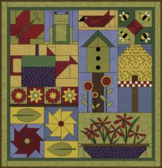 How adorable.   Sky fabric for the background would be beautiful.     Debbie Mumm: Year Long Sampler Quilt Project 2007
