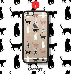 Casetify iPhone 7 Case and Other iPhone Covers - Kitty Cats in Black and White Marble with Faux Rose Gold Animals Pattern phone case by designer BlackStrawberry | #Casetify