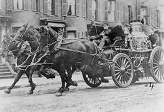 Engine 22's horse-drawn steam pumper in the South End, circa 1900.